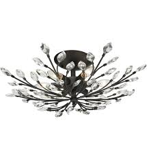 Crystal Flush Mount Lighting Elk Lighting 11772 6 Crystal Branches Burnt Bronze 24 Inch 6