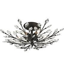 crystal semi flush mount lighting elk lighting 11772 6 crystal branches burnt bronze 24 inch 6