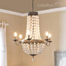distressed white wood beads chandelier creative co op home