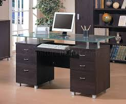 Modern Glass Desk With Drawers Office Desk Black Glass Top Desk Modern Glass Office Desk