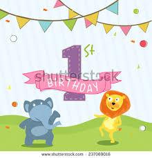 invitation card cartoon design kids 1st birthday celebration invitation card stock vector 2018