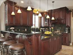 kitchen cabinets cherry finish concrete countertops dark wood kitchen cabinets lighting flooring