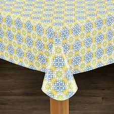 mosaic print heavyweight vinyl tablecloth with soft flannel