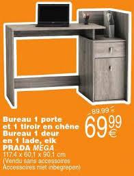 cora promotie bureau 1 porte et 1 tiroir en chêne bureau 1 deur