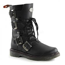 womens black moto boots mens combat ankle high boot with buckled straps defiant 306 vegan