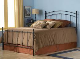 black steel bed frame with bars on the curving head board combined
