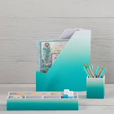 Teal Desk Accessories Fabric Desk Accessories Set Of 3 Pool Ombre Pbteen