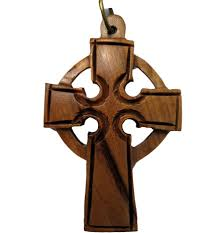 celtic crucifix buy large celtic cross olive wood necklace with leather cord