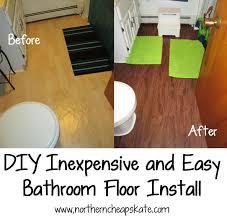 Diy Bathroom Flooring Ideas Diy Inexpensive And Easy Bathroom Floor Install Small Bathroom
