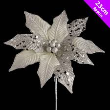 5 large silver poinsettia christmas pick decoration tree clips