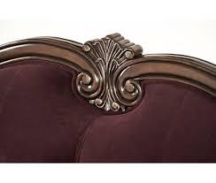 wood trim sofa 2 509 00 lavelle wood trim tufted sofa dark plum by michael