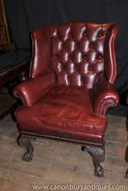 Second Hand Leather Armchair A Lovely Rich Wine Second Hand Leather Chesterfield Wing Back