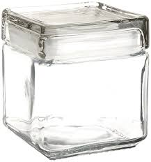 Glass Kitchen Canisters Amazon Com Anchor Hocking 85587r 1 Quart Stackable Square Clear