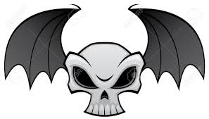 vector illustration of an angry skull with bat wings great for