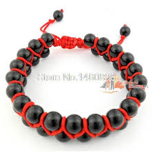 double bead bracelet images Black smooth onyx beads red double row shamballa bracelet in jpg