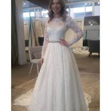 a line two piece long sleeves lace wedding dress