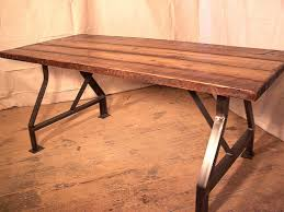 wood top work table factory work table with industrial metal base and reclaimed
