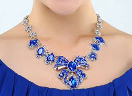 sapphire earrings necklace set images Blue rhinestone multi sapphire wedding necklace earrings sets jpg