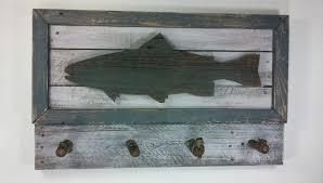 trout decor fish wall decor fish decor rustic fish decor fish wall coat rack wood fish coat rack wall