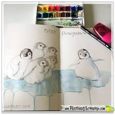 floating lemons baby penguins sketch