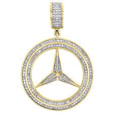 mercedes jewelry s 10k yellow gold mercedes medallion pendant pave