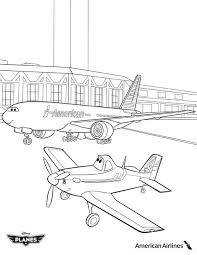 planes coloring pages image dusty and american airlines plane in disney planes