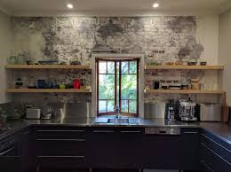 modern kitchen shelves floating kitchen shelves on exposed brick finer finishersfiner
