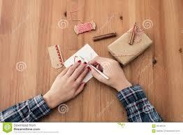 woman crafting for christmas stock photo image 59768126
