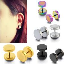 what is surgical steel earrings 3 14mm piercing tunnels black surgical steel