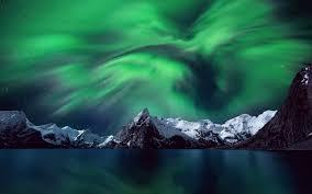 borealis norway mountain stars sky arctic