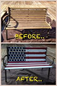 Outdoor Wood Bench Diy by Rustic Patriotic American Flag Garden Wood Bench Makeover Weekend