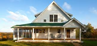 one or two story craftsman house plan country farmhouse blue