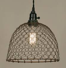 Wire Pendant Light Primitive Rust Chicken Wire Rustic Swag L L Shade Pro