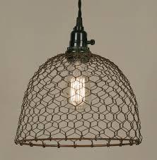 Wire Pendant Light Primitive Rust Chicken Wire Rustic Swag L L Shade Pro