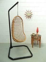 retro vintage mid century 60s 70s egg wicker cane hanging pod