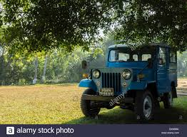 jeep mitsubishi blue mitsubishi jeep under a tree on a lawn stock photo royalty