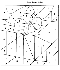 christmas gift color by number coloring pages for kids 91 sub
