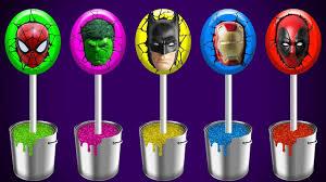 body paint super heroes lollipops spiderman hulk batman finger