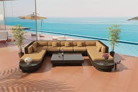 Teak Sectional Patio Furniture Outdoor Furniture Paros U Java Wicker Viro Sectional Sofa By Las