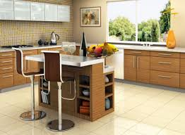light brown wooden kitchen island with white top combined with