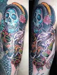 death skull n guitar tattoo design tattoos book