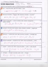 chemical equation word problems worksheet 100 writing