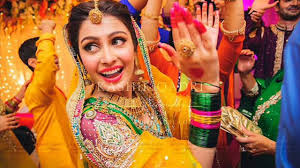 multi color pakistani mehndi dresses for bridals 923037969399