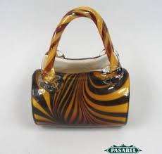 Murano Glass Purse Vase Pasarel Israeli Handmade Decorative Glass Hand Bag Purse 120