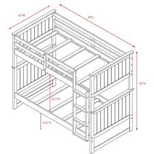 Espresso Hudson Cottage Style Twin Over Twin Bunk Bed  Dorseys - Twin bunk bed dimensions