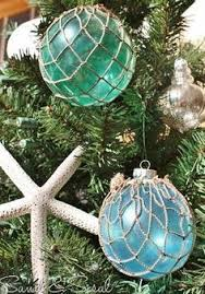 glass float ornaments sisal tree and ornament