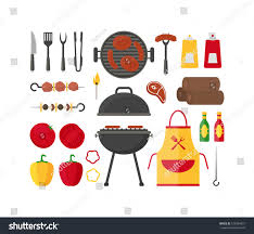barbecue grill set home party restaurant stock vector 515094631