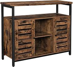 buffet sideboard cabinet storage kitchen hallway table industrial rustic vasagle storage sideboard buffet table kitchen cabinet freestanding console table with cupboard shelves louvered doors for dining room living