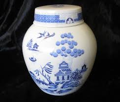 willow pattern jam pot vintage blue and white willow pattern ginger jar made by royal