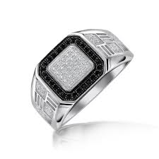 mens engagement ring mens square black pave cz engagement ring 925 sterling silver